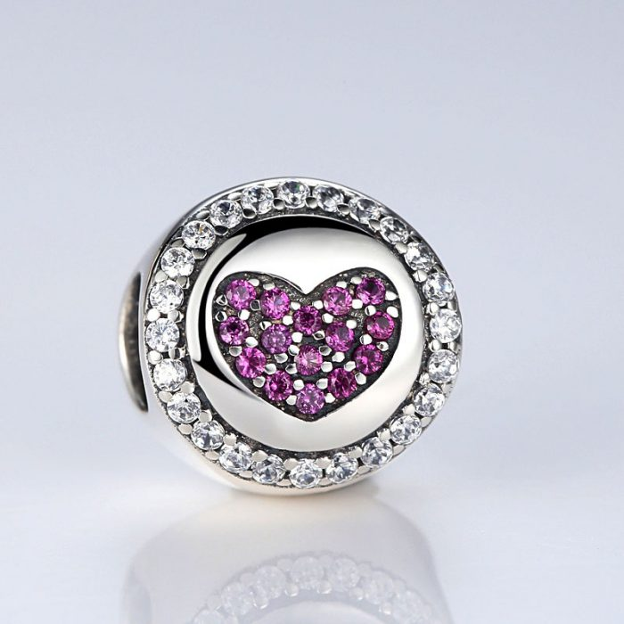 Sterling Silver Purple Heart Charm Bead