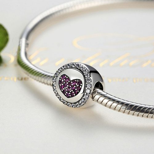 Sterling Silver Purple Heart Charm Bead