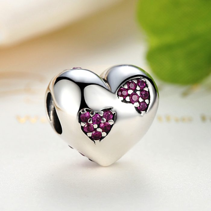 Sterling Silver Two Hearts One Bead