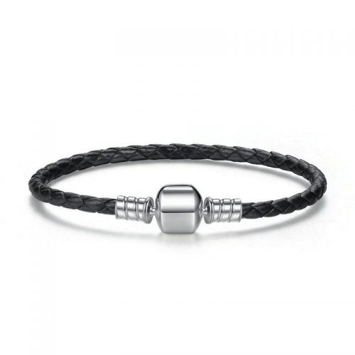 Charmhouse Black Leather Bracelet
