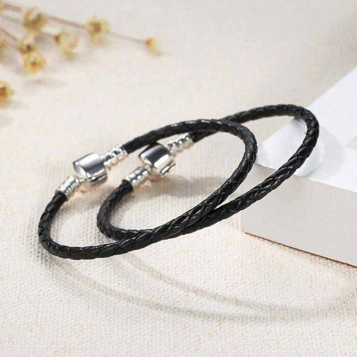 Charmhouse Black Leather Bracelet