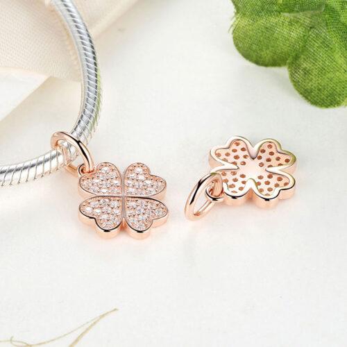 Silver Gold Clover Pendant