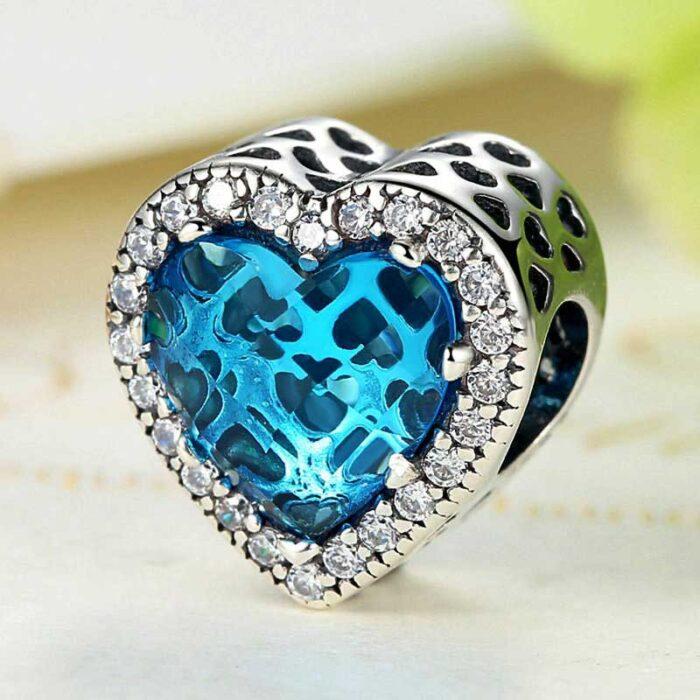 Blue Diamond Heart Sterling Silver Charm