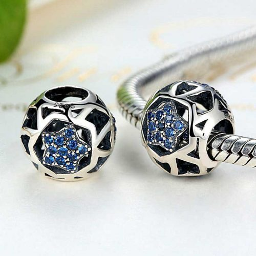 Sterling Silver Blue Star Charm Bead