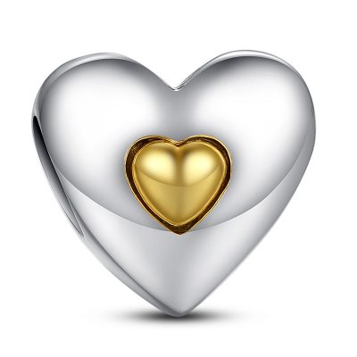 Sterling Silver Heart In Heart Charm