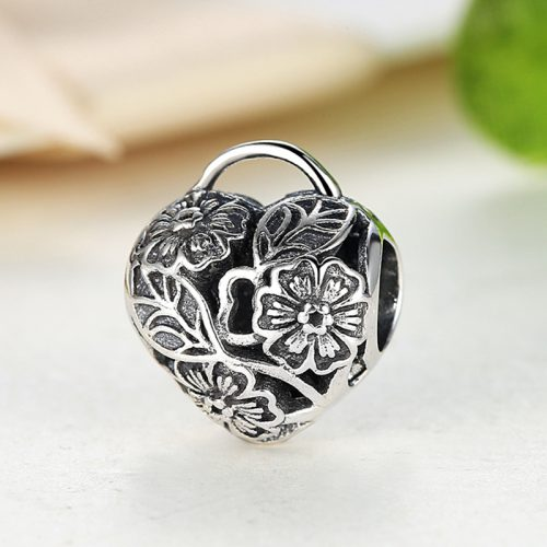 Sterling Silver Heart Lock Charm