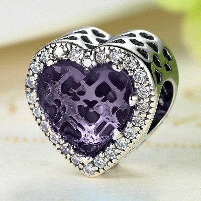 Purple Diamond Heart Purple Diamond Heart Charm