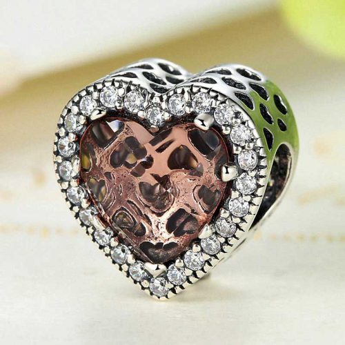 Rose Gold Diamond Heart Sterling Silver Charm